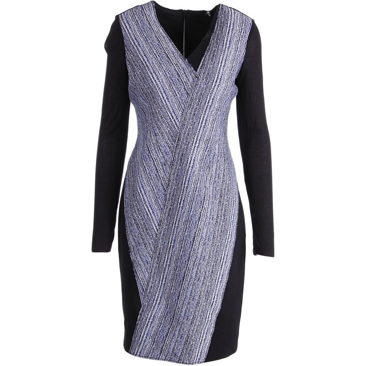 Elie tahari womens cara vneck long sleeves formal dress products