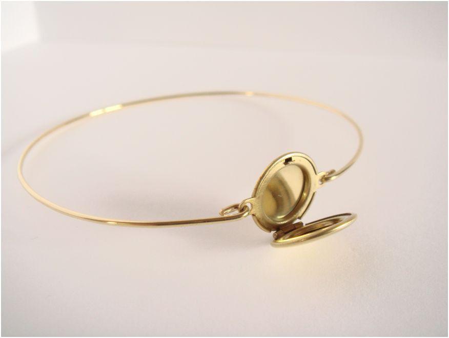 Gold Locket Bangle Minimalist Jewelry Everyday Bracelet 13 00 Via Etsy
