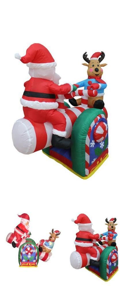 Inflatable Santa Claus Christmas Decoration 4 FT Reindeer Teeter - inflatable christmas yard decorations