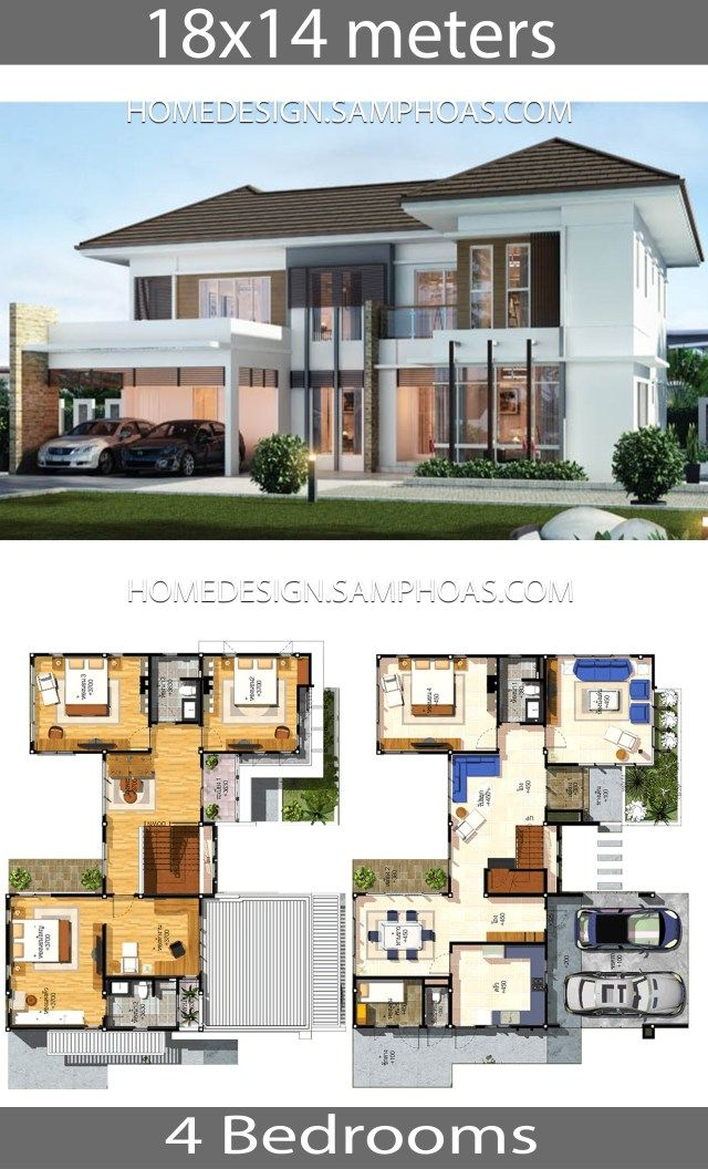 House Plans Idea 18x14 With 4 Bedrooms Home Ideassearch Philippines House Design Architectural House Plans House Plans