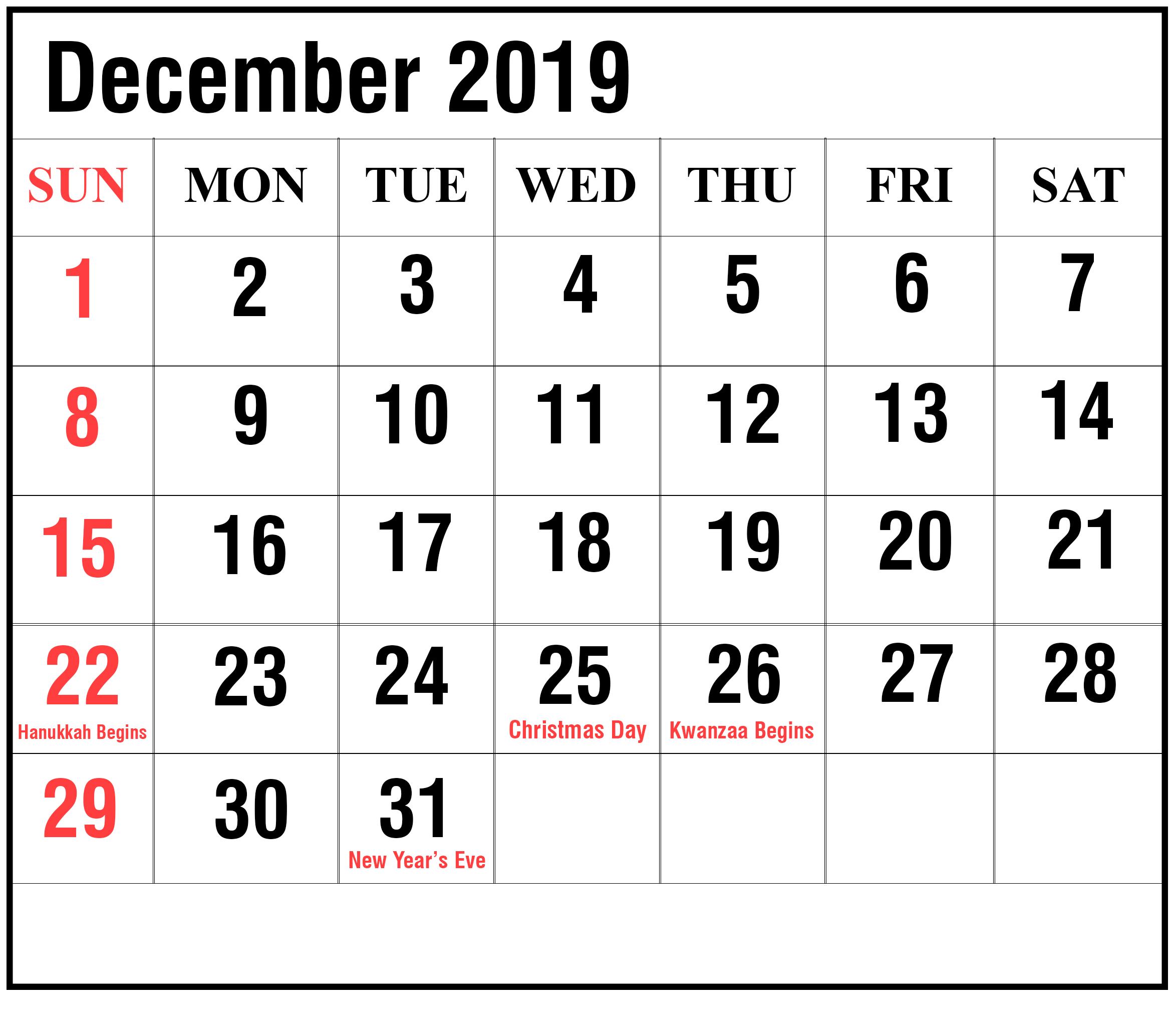 2019 December Calendar Weekly Planner With Times Printable