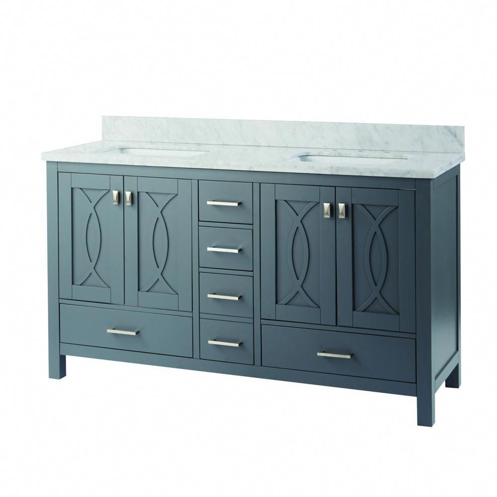 Franklin Square 60 Inch W 5 Drawer 4 Door Vanity In Grey With Marble Top In White Double Basins Home Decorators Collection 60 Inch Vanity Vanity