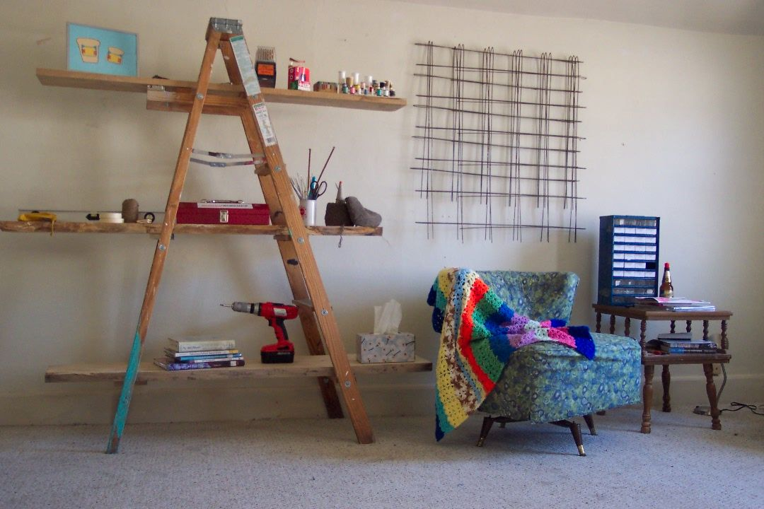 This is from FuckYourNoguchiCoffeeTable, but I love this repurposed ladder!