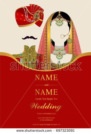 Awesome Wedding Invitation Card Templates With Indian Man And Women Traditional  Costumes Wedding On Paper Color Background