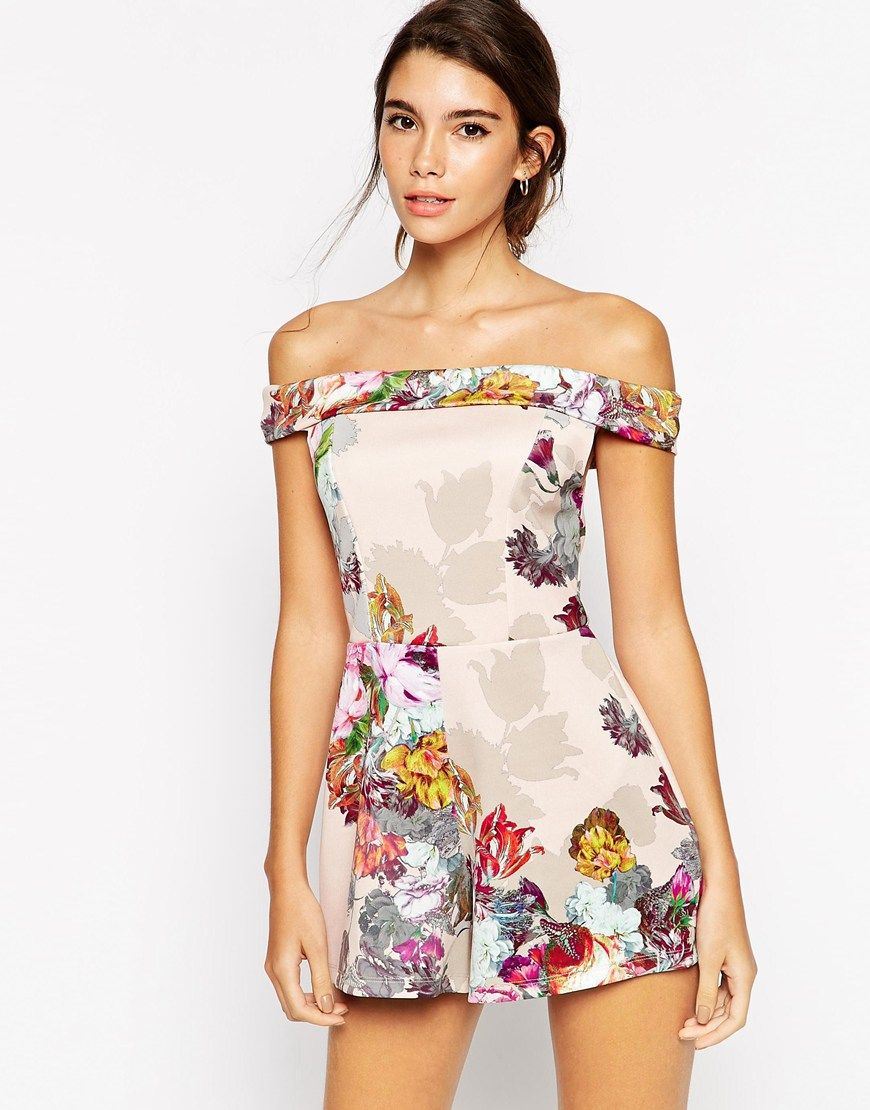Image 1 ofASOS Occassion Bardot Playsuit in Shadow Floral