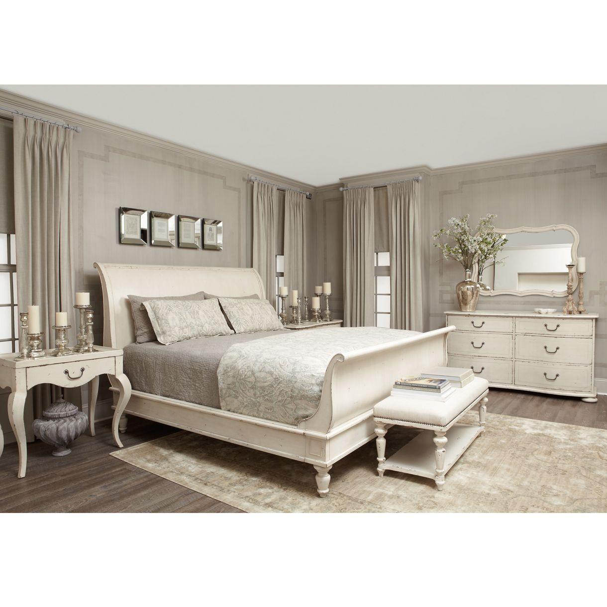 Reine French Country Antique White Queen Sleigh Bed Bedroom Furniture Sets Bedroom Design Elegant Bedroom