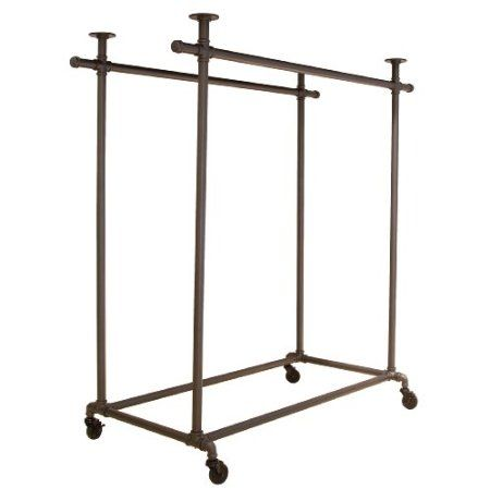 distinctive pipe series commercial quality double ballet bar rolling garment clothing rack