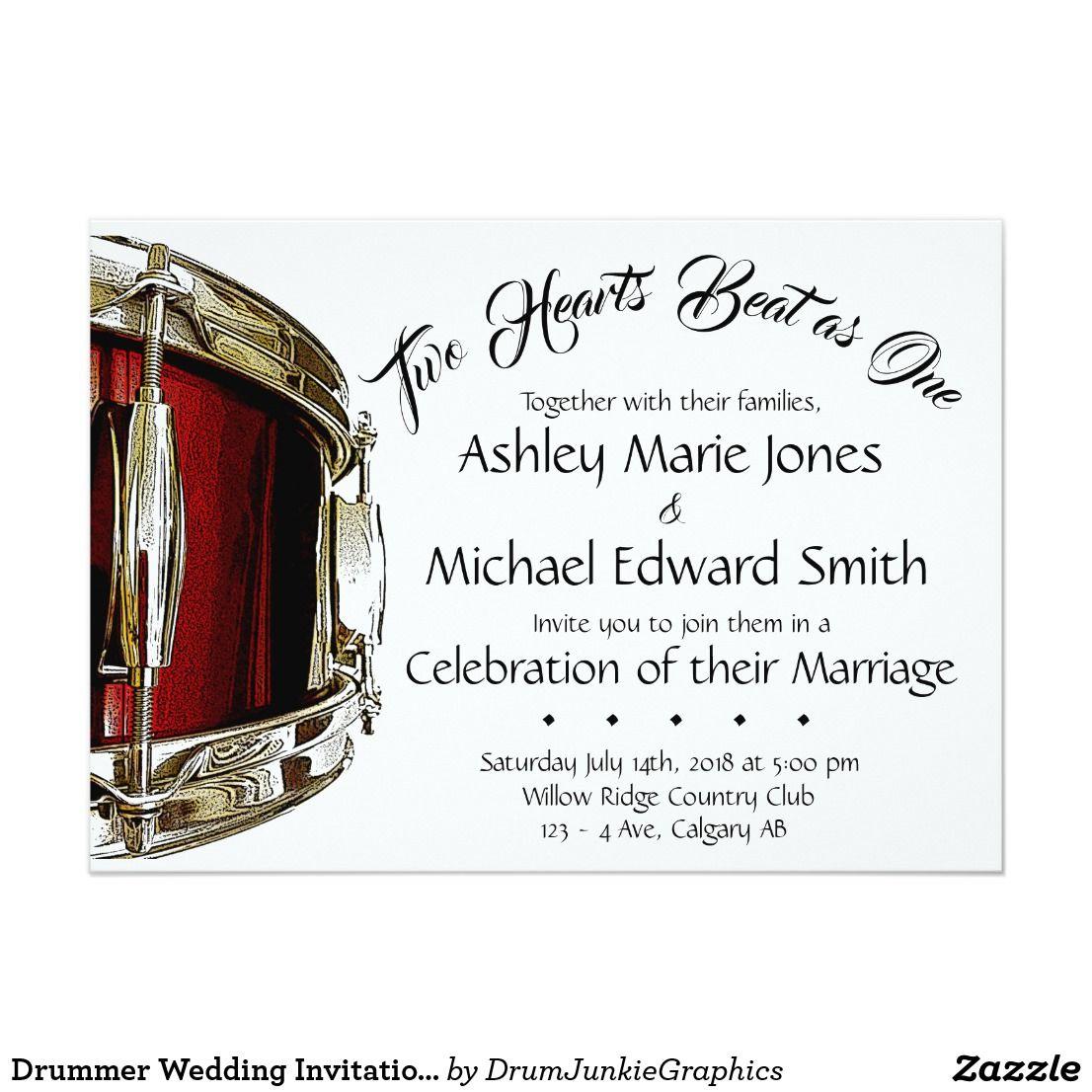 Drummer wedding invitation drum card musician wed zazzle
