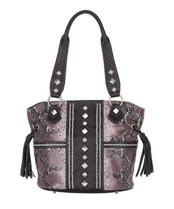 ba1d87de50dafb Western Style  Women s Accessories - Plum   Black Python Embossed ...
