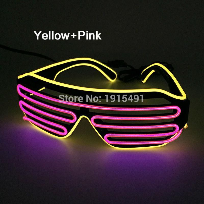 Pay Attention!New Brand Yellow+Pink Luminous EL Wire Cosplay Glasses ...