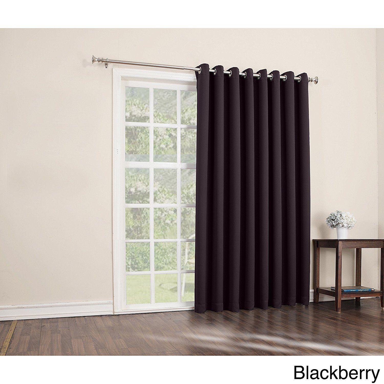 84 Blackberry Solid Color Sliding Door Curtain Black Sliding Patio