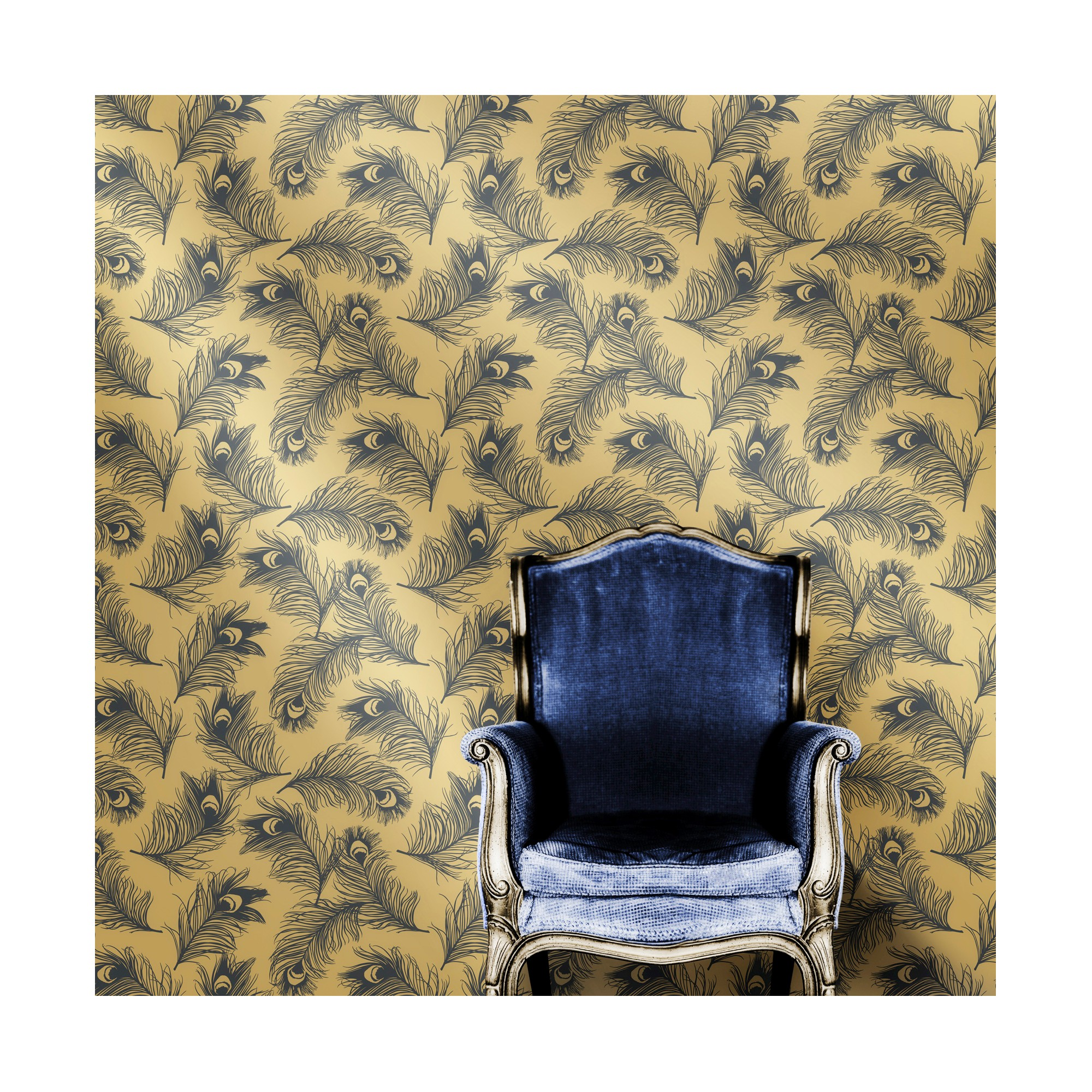 Tempaper Feathers Self Adhesive Removable Wallpaper Twilight
