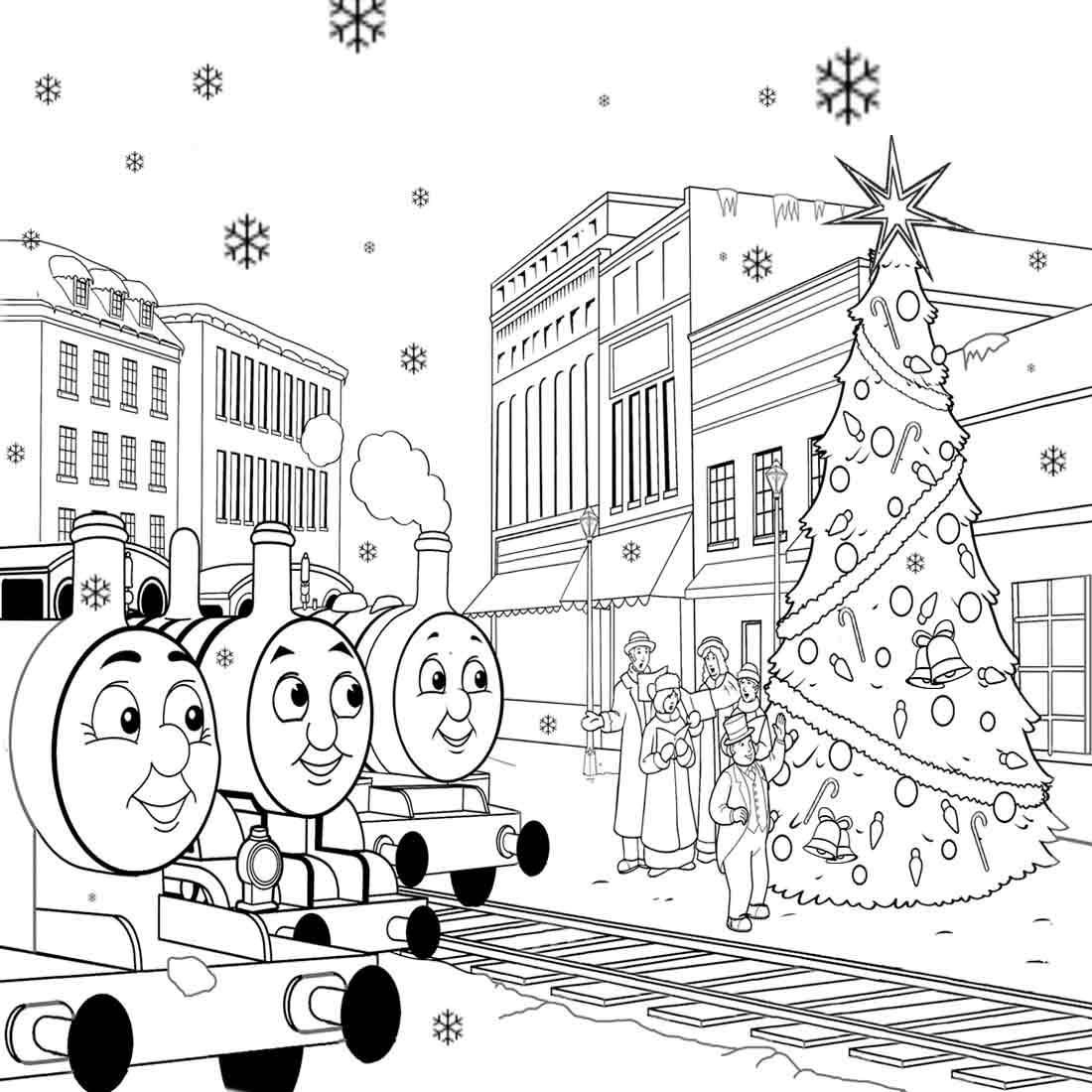 Thomas The Train Christmas Coloring Pages For Kids