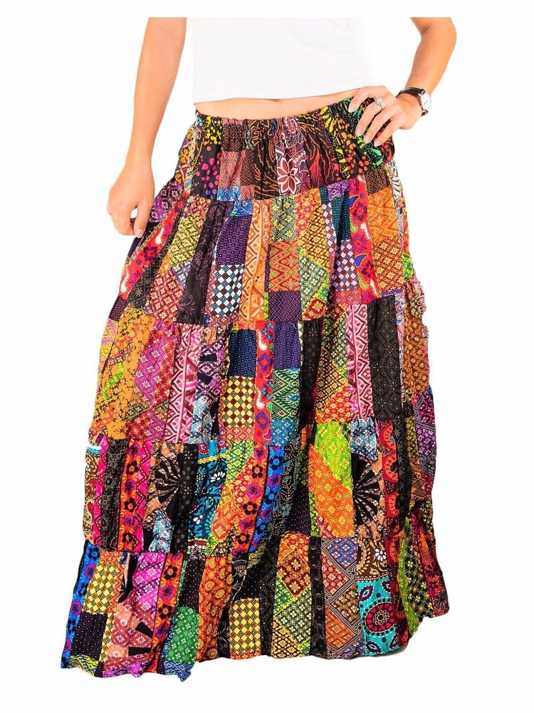 731747377e WOMEN'S PATCHWORK SKIRT RETRO FULL LENGTH TIERED FLORAL MAXI FLOWERS HIPPIE  BOHO #patchworkskirts #skirts #patchworkclothing