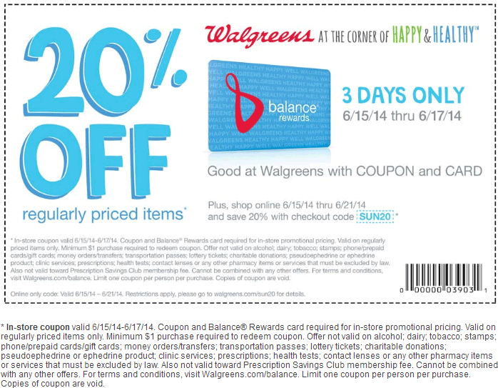 Pinned June 15th: 20% off at #Walgreens, or online via promo code ...