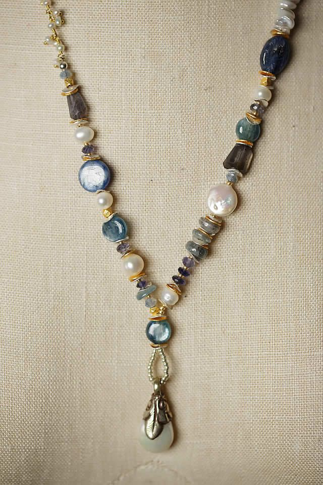 Unique Handmade Gemstone Chunky Pearl Dangle Necklace For