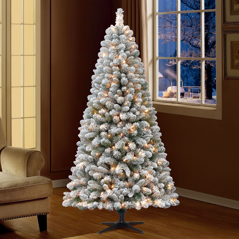 Prelit 6.5' Artificial Flocked Christmas Pine Tree Xmas