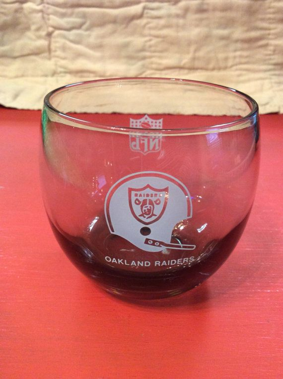 6a2aabe641b2 Vintage NFL Oakland Raiders Smoke Grey Whiskey Glass  Etched Glass ...