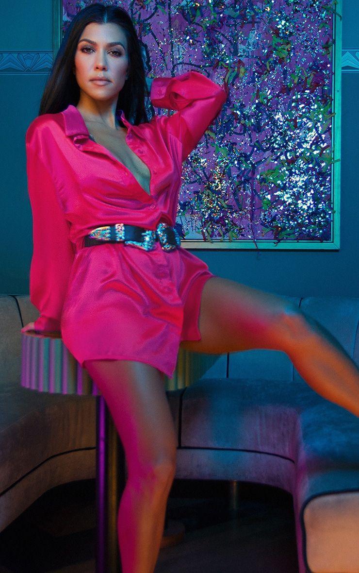 Pretty little thing Kardashian pink satin heel boots UK 5