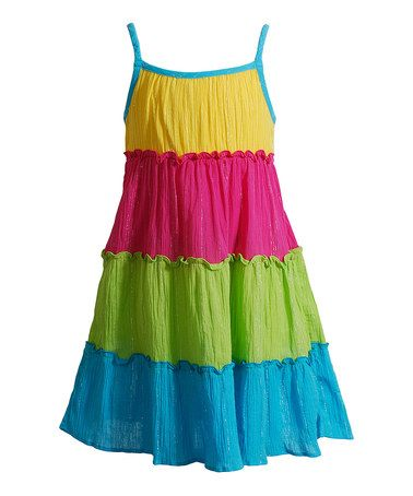 Look at this #zulilyfind! Turquoise & Yellow Tiered Swing Dress - Toddler & Girls by Youngland #zulilyfinds
