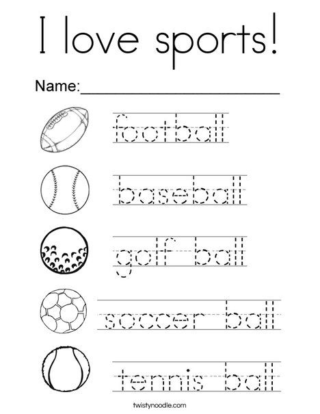 I love sports Coloring Page Twisty Noodle Sports