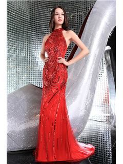 Luxurious Beading Sequins Mermaid/Trumpet Halter Evening/Prom Dress