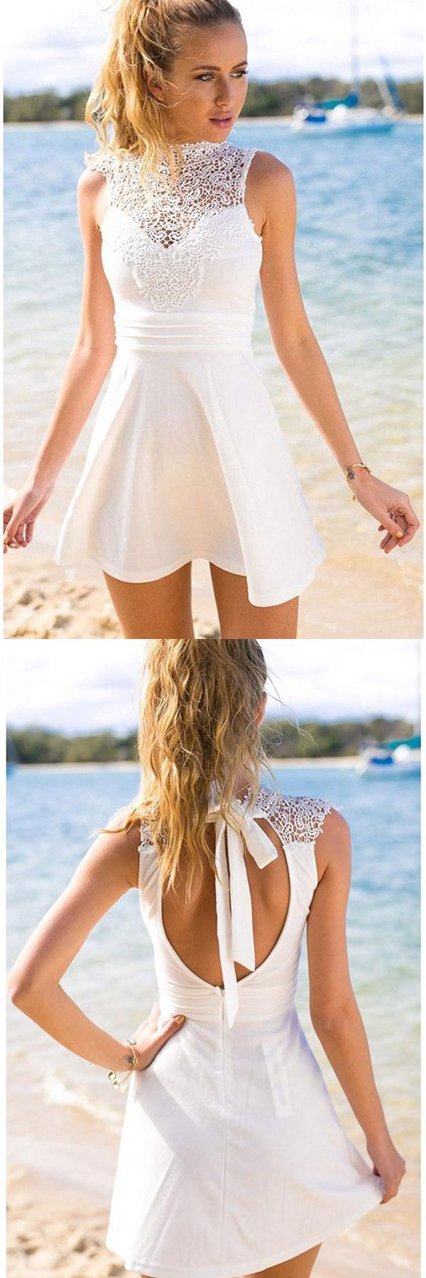 Cheap luscious lace prom dresses short open back white stretch satin