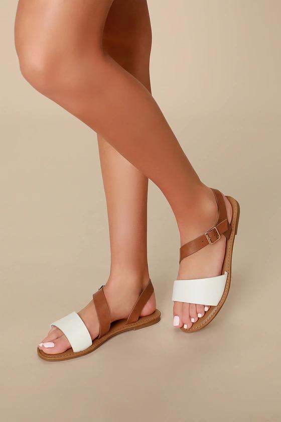 Bessia White Flat Sandals | Sandals, White flats, Flat sandals