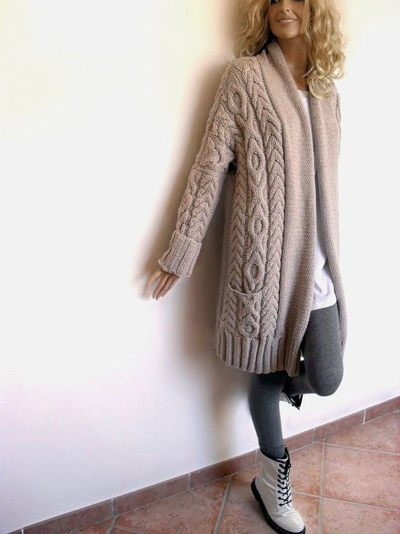 Women's Cable Knit Sweater Knitted Merino Wool Cardigan by Pilland, $360.00: