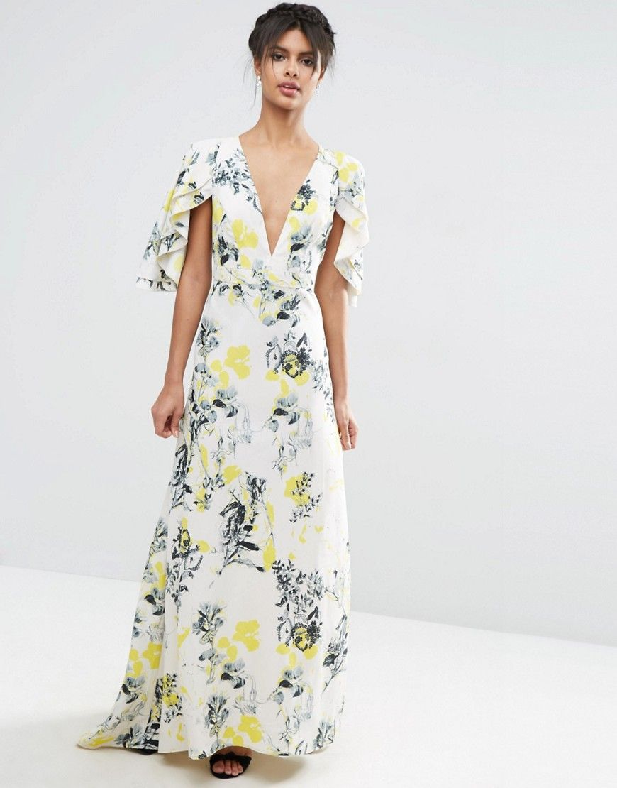 Wedding Guest Maxi Dress Perfect For A Garden Or Rustic From ASOS Ruffle Cape Deep