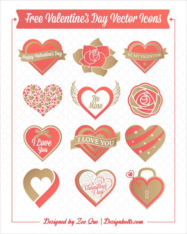 free valentines day icons set for graphic designers hearts rose