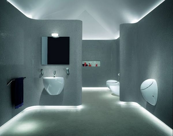 LED strip lighting skirting board and ceiling tiled bathroom walls ...