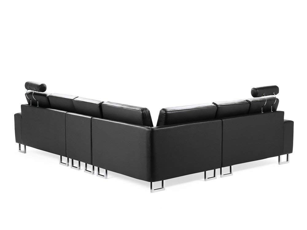 Left Hand Corner Leather Sofa Black Stockholm Beliani Amazon Co