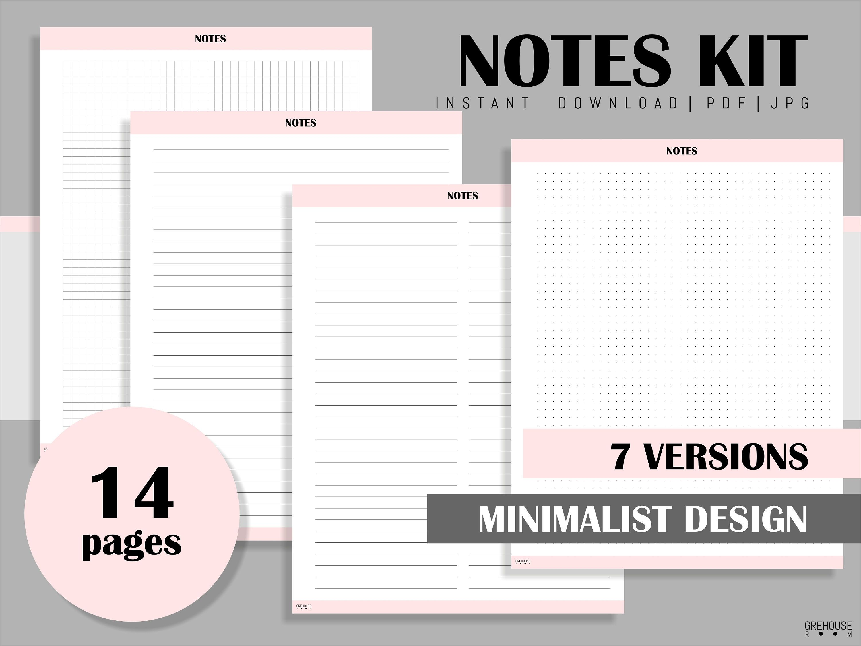Notes Printable Planner Inserts Planner Essentials