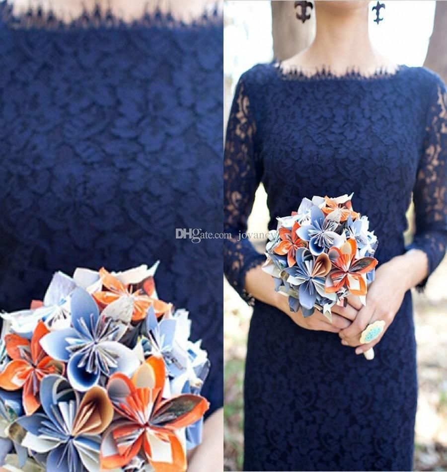 elegant navy blue bridesmaid dresses long sleeve bateau