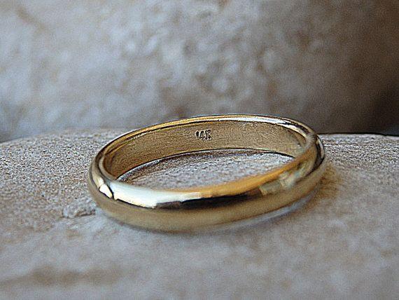 Simple Plain Wedding Band 14k Solid Gold Ring Women S Men S Gold