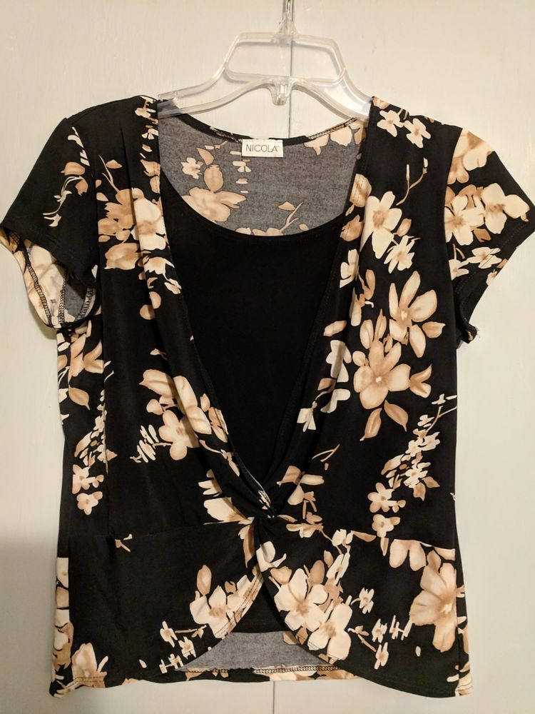 5771738d7e6 WOMENS NICOLA TOP SIZE SMALL BLACK WITH WHITE BEIGE FLOWERSEUC  fashion   clothing  shoes  accessories  womensclothing  tops (ebay link)