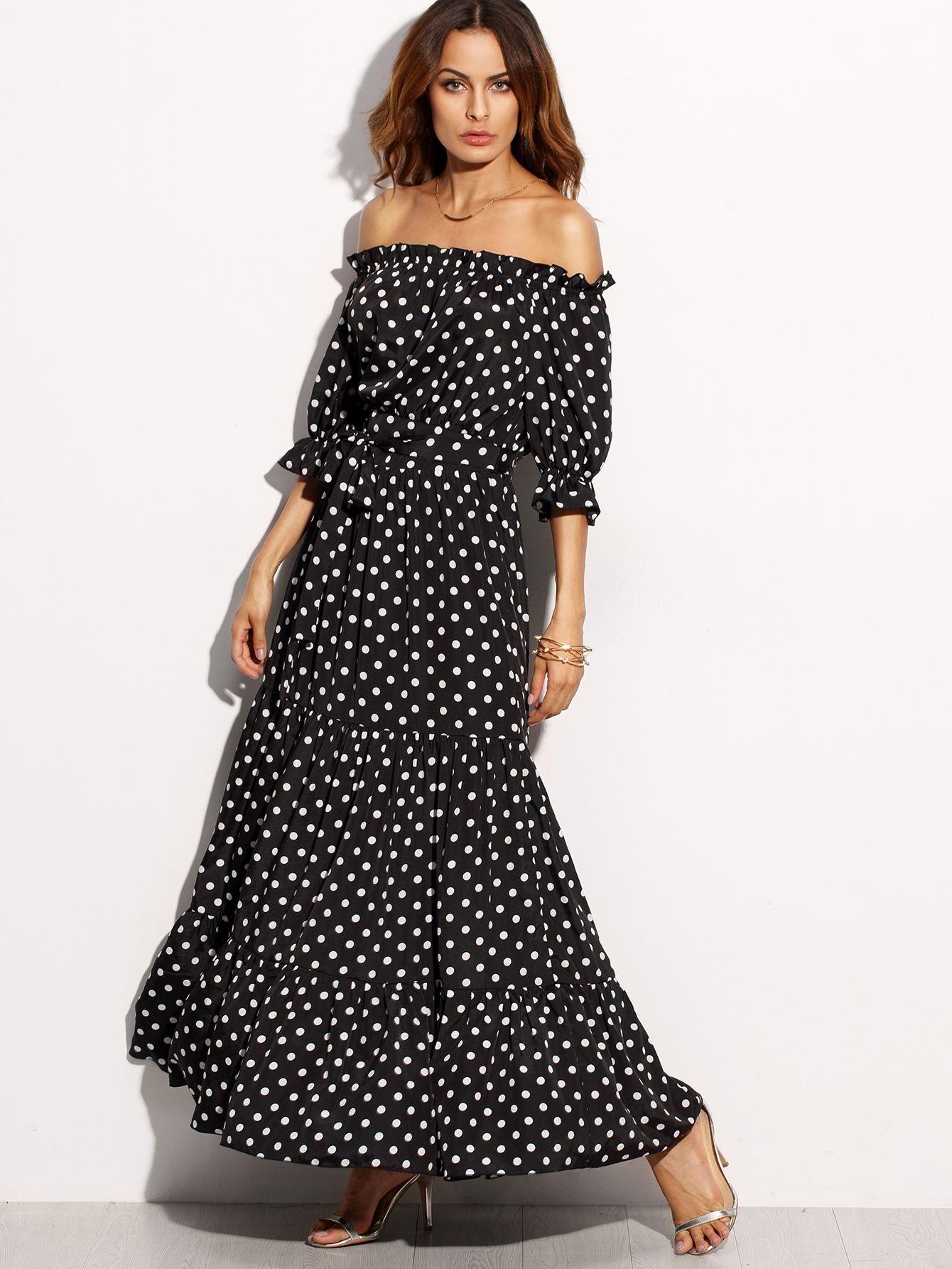 36d8df4829295 Shop Polka Dot Bardot Neckline Tie Waist Dress online. SheIn offers ...
