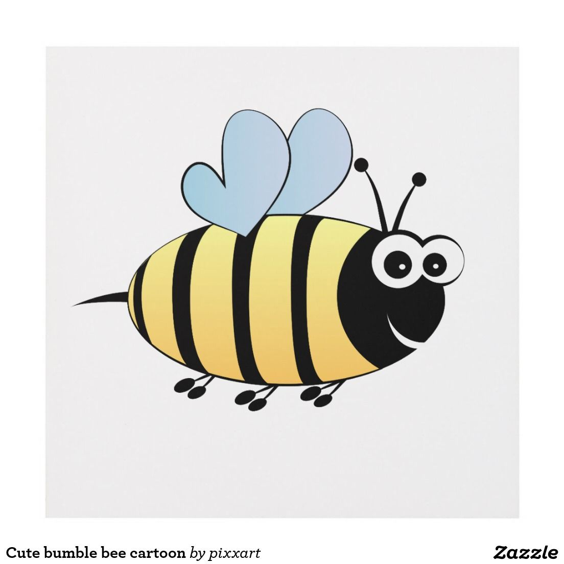 Cute bumble bee cartoon panel wall art | Wall panels *Zazzle ...