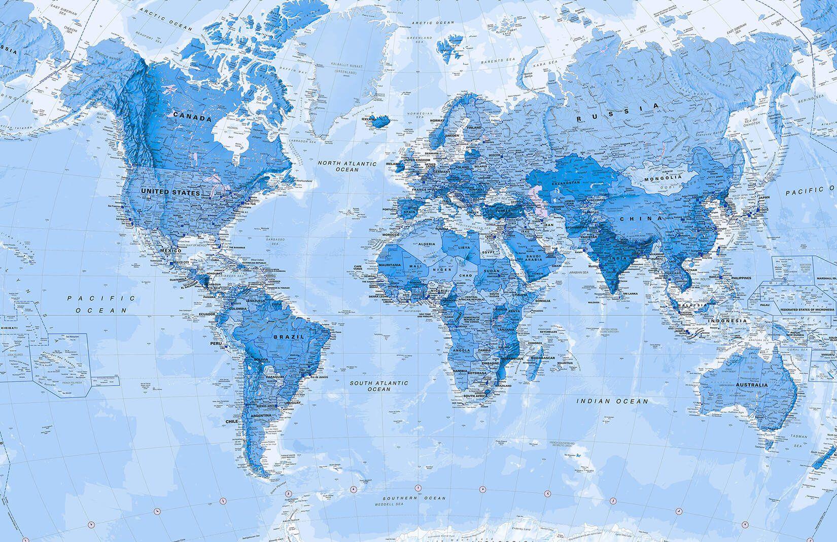 Shaded Blue Political World Map Wallpaper Mural