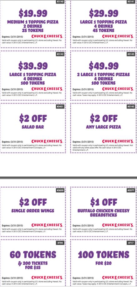 Chuck E Cheese Printable Coupons Tokens Food Drink Free Tickets Chuck E Cheese Printable Coupons Free Printable Coupons