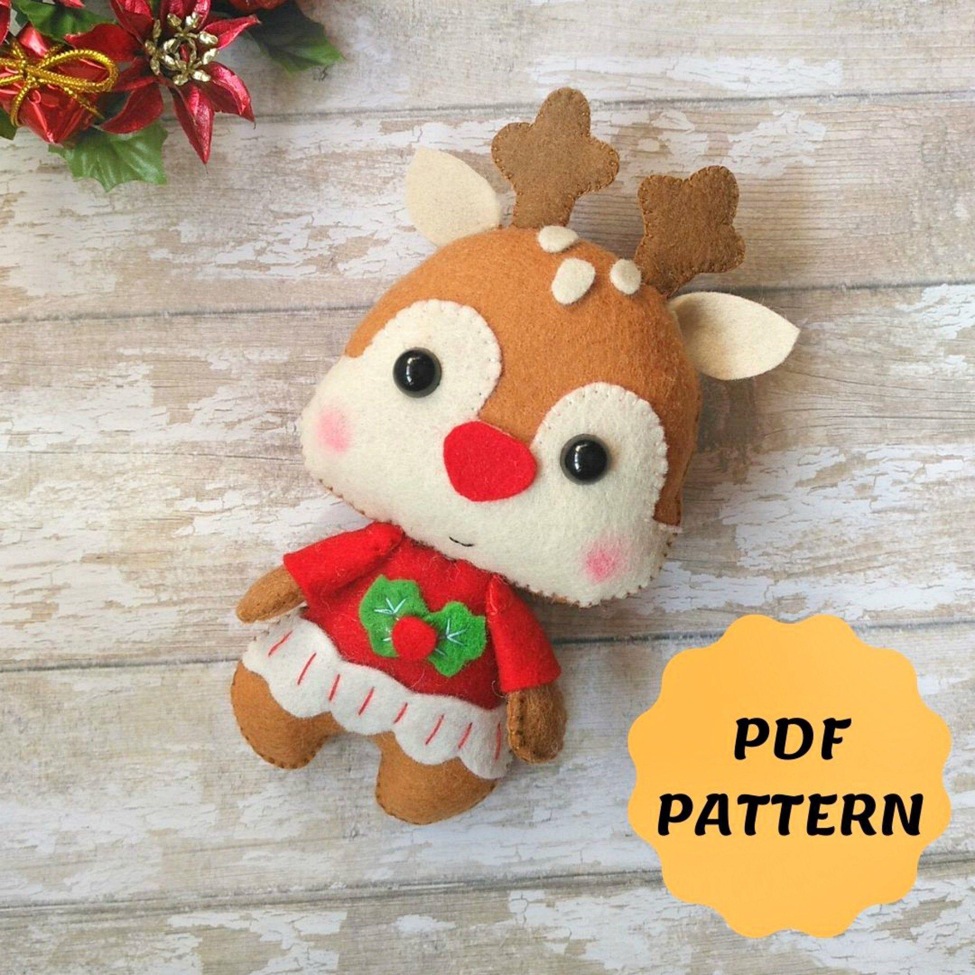 Felt Reindeer Christmas Ornament Reindeer Pattern Felt Rudolph Etsy Felt Christmas Ornaments Felt Ornaments Felt Toys Patterns