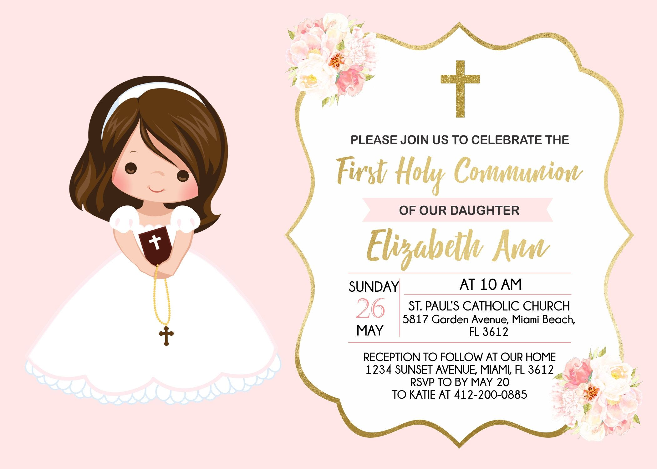 First Holy Communion Invitation Girl Printable Invitation Floral Watercolor Pink And Gold