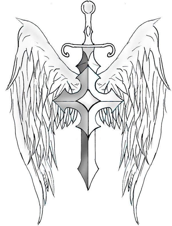 sword and shield tattoo designs sword wings by. Black Bedroom Furniture Sets. Home Design Ideas