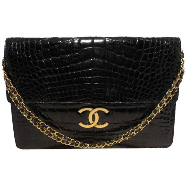 Pre-Owned Chanel Black Alligator Oversized Clutch With Chain Strap ($19,000) ❤ liked on Polyvore