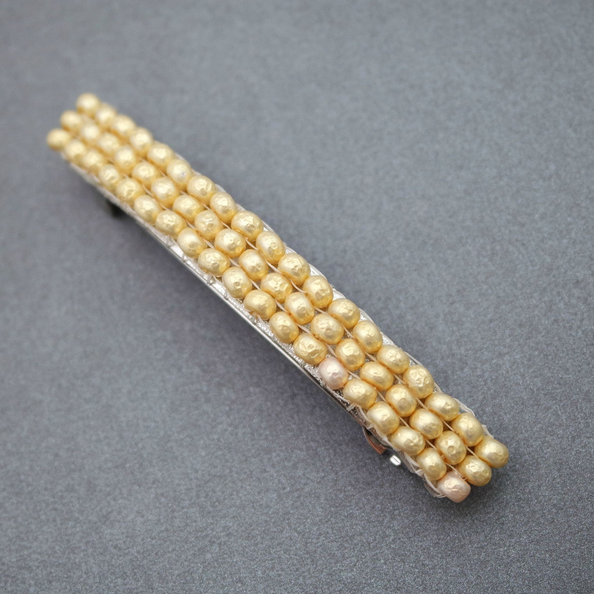 Cream Beaded French Barrette Faux Pearl Look