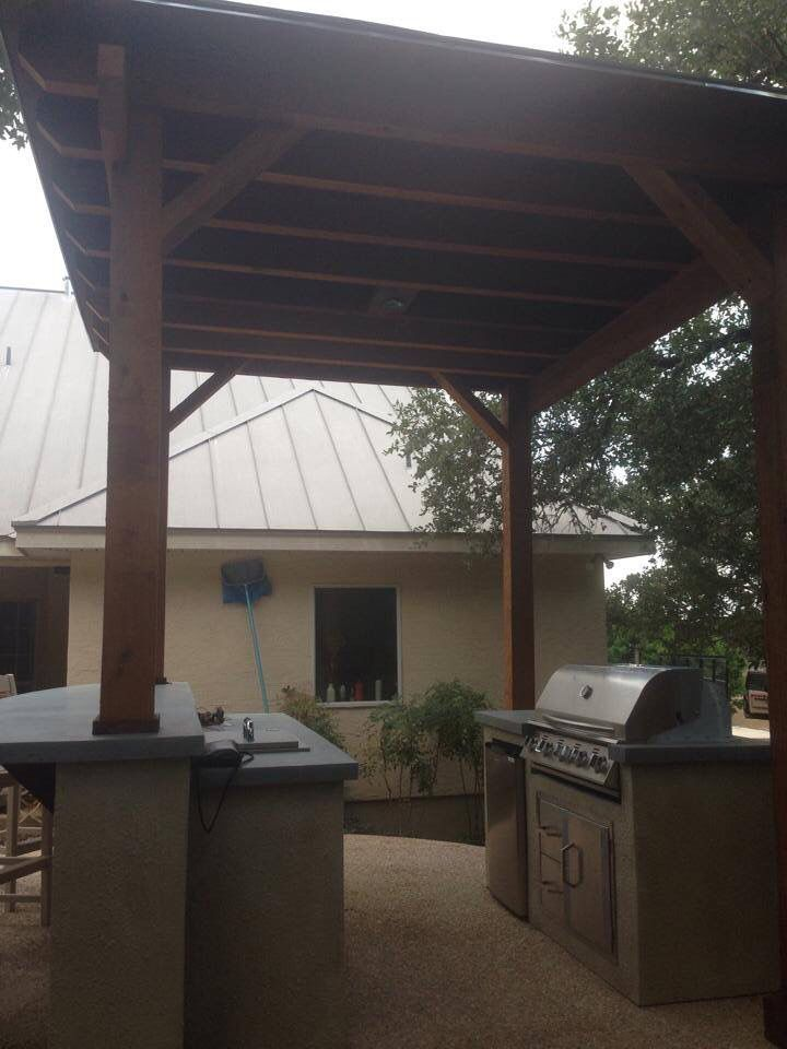Great Outdoor Kitchen With Blue Fog Concrete Countertops Built In Ice Chest And Refrigerator And Concrete Outdoor Living Outdoor Living Space Shade Structure