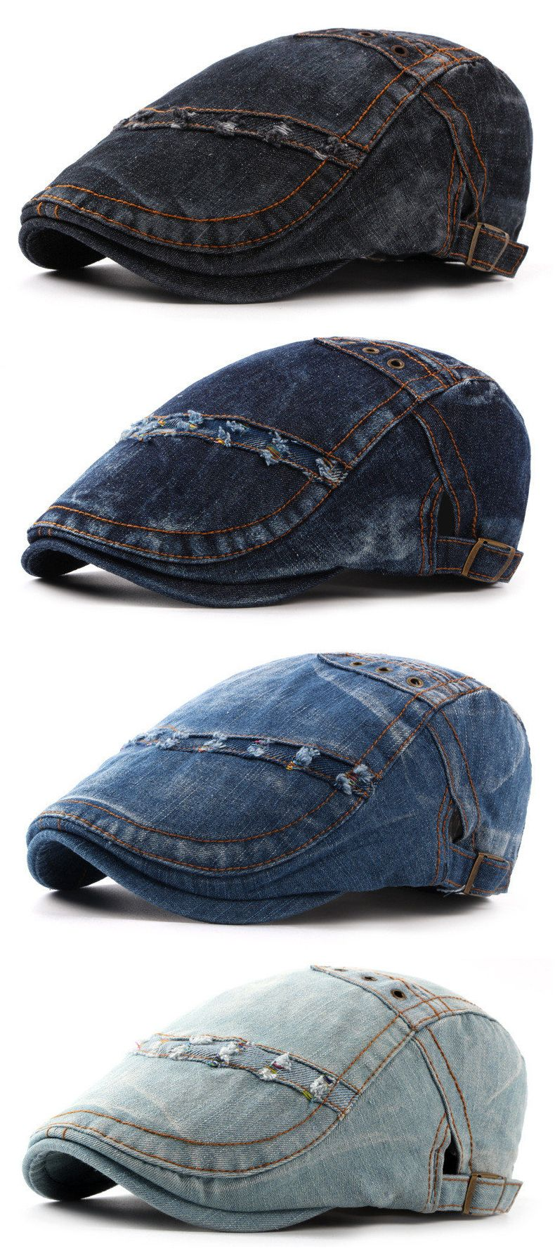 632d83c8db11d Mens Summer Denim Beret Caps Casual Fashion Visor Cowboy Hats Forward Hat  Adjustable