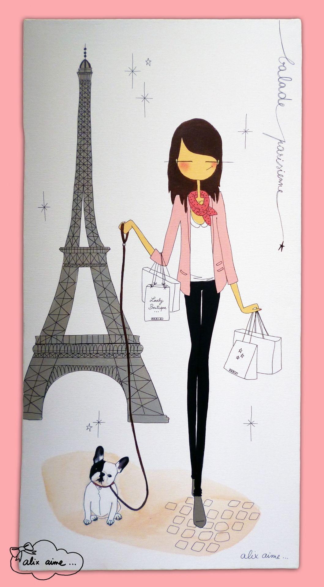 E une vrai parisienne opgetut mode als belangrijkste - Dessin parisienne ...
