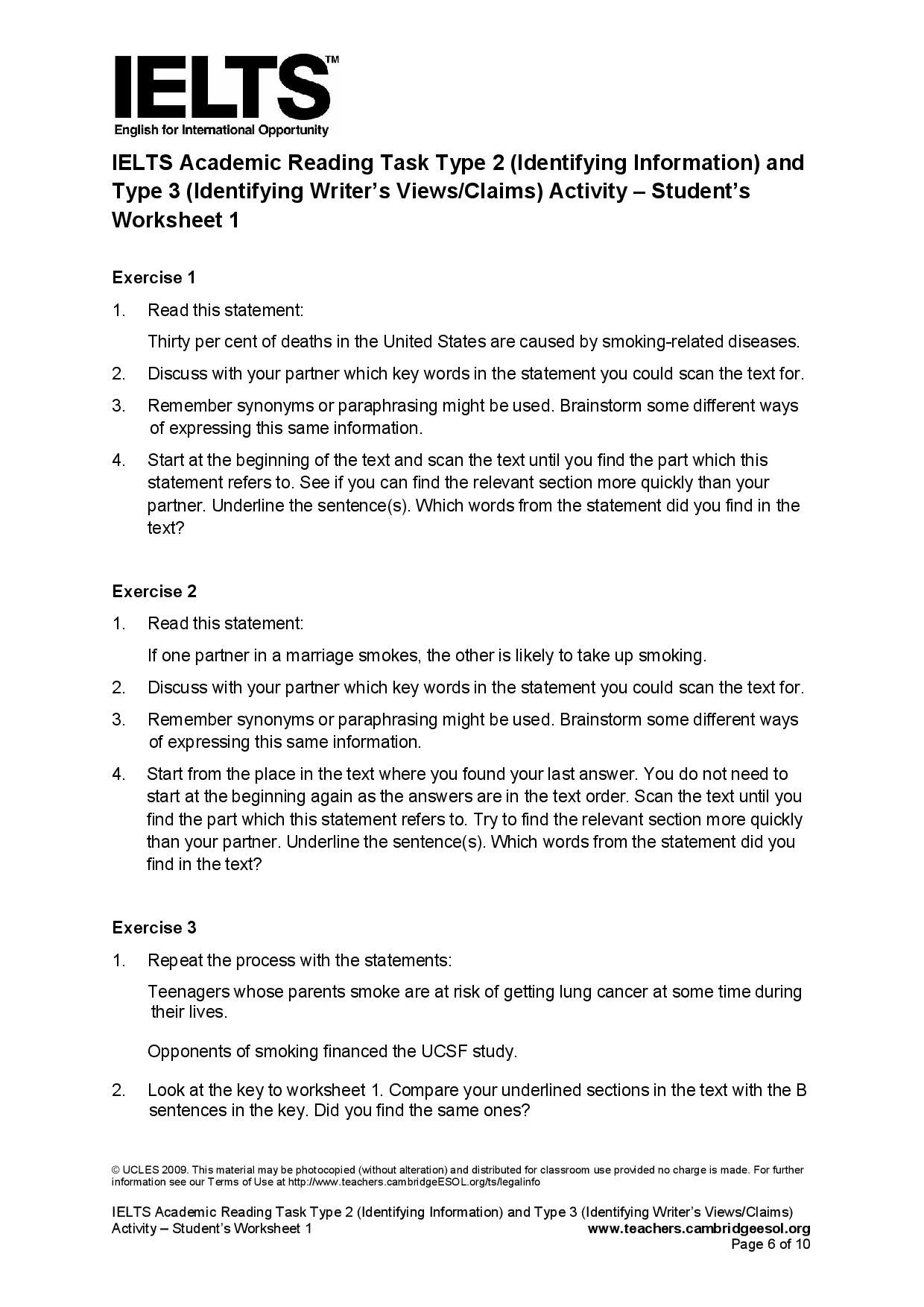 Ielts Academic Reading Task Type 2 Identifying